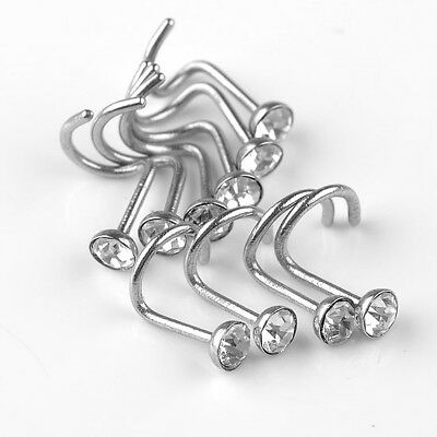 10pcs Clear Czech CZ Crystal Screw Bar Stud Nose Ring Piercing Stainless Steel