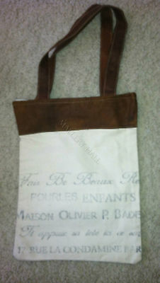 Reclaimed Vintage French Script Leather Top Canvas Leather Strap Purse Hand Bag