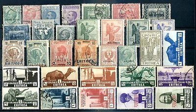 ITALY - ERITREA 32 OLD STAMPS LOT, MH & USED, VF