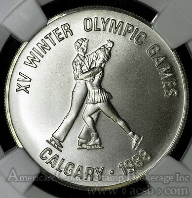 Afghanistan 500 Afghanis ND(1986) MS69 NGC silver KM#1004 S500A Calgary Olympics