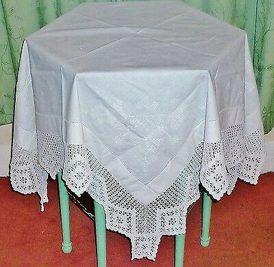 ANTIQUE C1920'S ENGLISH FINE LINEN & LACE EMBROIDERED WHITEWORK TABLECLOTH