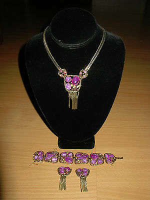 Vintage Parure Purple Stones Amethyst Rhinestones Necklace Bracelet  Earrings