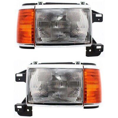 87-91 Ford Bronco Pickup Truck F150 F250 Headlights Headlamps Pair Set