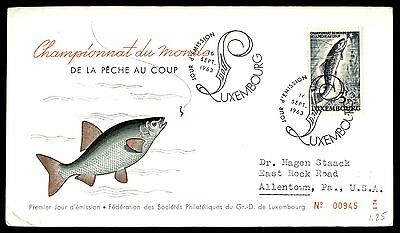 1963 Luxembourg fishing and colorful cachet first day cover