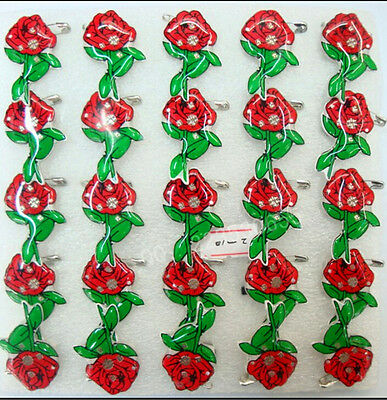 New Lot Red roses LED Flashing Light Up Badge/Brooch Pins Valentine's day gifts