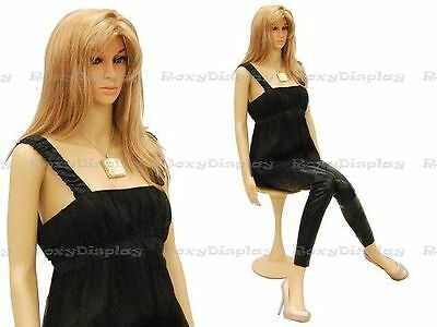 Female Unbreakable Plastic Mannequin Display Head Turns Dress Form G6 + Free Wig