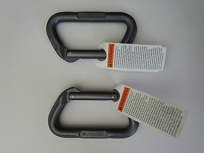 OMEGA PACIFIC carabiner set of 2 NEW straight gate d matte grey tactical OPDMC