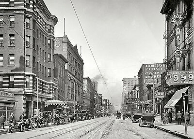 1910 Memphis Tennessee, Main Street View, 15x11 PHOTO, Businesses, automobiles