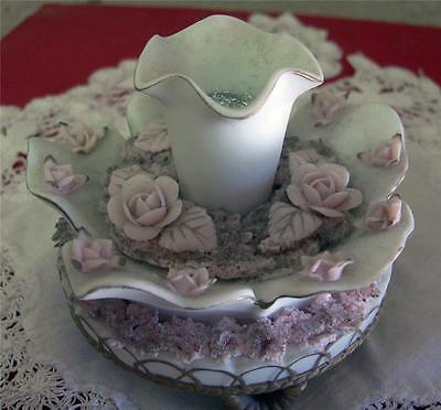 Vintage Andrea Candle holder Spaghetti Trim Pink Applied roses