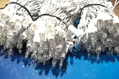 New 300 White Icicle Lights Clear Christmas Wedding White Wire Deck Party Deco