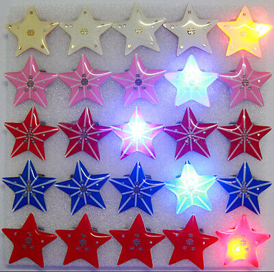 Lot stars mixes LED Flashing Light Up Badge/Brooch Pins Valentine's day gifts