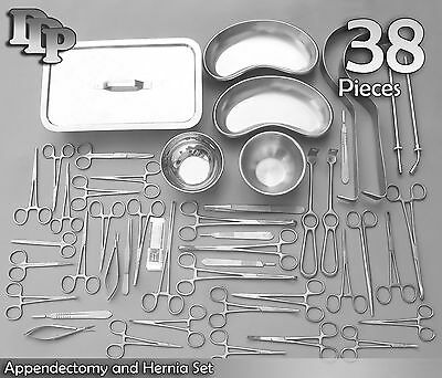 38 Piece Appendectomy and Hernia Set - General Surgery Medical Instruments