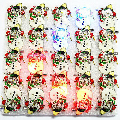 Lot snowman LED Flashing Light Up Badge/Brooch Pins Christmas party gifts S-02