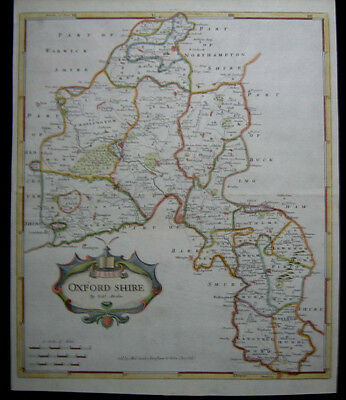 1722 Original Antique Robert Morden British County Map of Oxford Shire Excellent