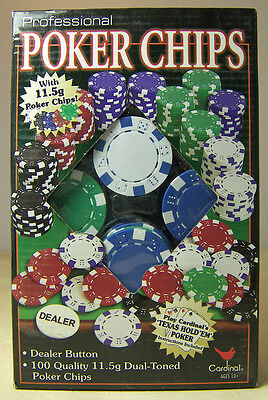 BOX of 100 QUALITY POKER CHIPS PROFESSIONAL with DEALER BUTTON DUAL-TONED NIB