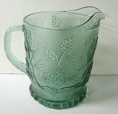 Vintage Tiara Exclusive Glass Pitcher 74OZ Ponderosa Pine Spearmint Green Signed