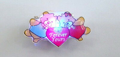 Lot red heart forever yours cute bears LED Flashing Light Up Badge/Brooch Pins