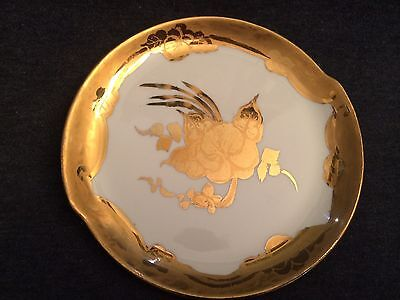 "VINTAGE W S GEORGE Decorative 6"" Small Plate Gold Trim and Gold Flower"