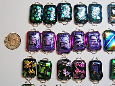 50 Fused Dichroic Glass Links- 2 Hoops! Sets Of 5! Regular Size! Handmade!lot A6
