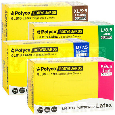 Box of 100 Bodyguard Latex Lightly Powdered Disposable Gloves