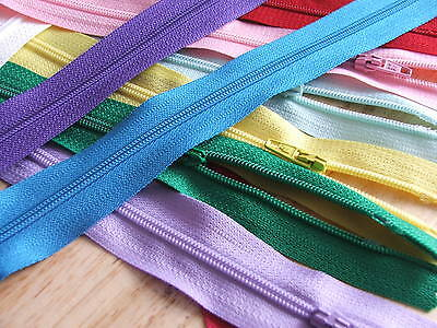 10 x Nylon Zips assorted colours No.3 with autolock -SIZE/LENGTH CHOICE