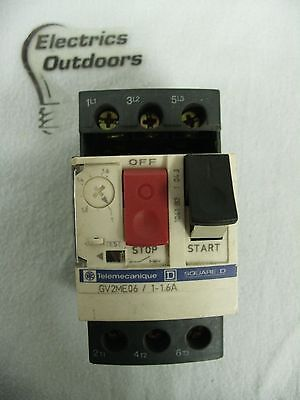 Telemecanique 1 - 1.6 Amp Manual Start Stop Switch Gv2Me06