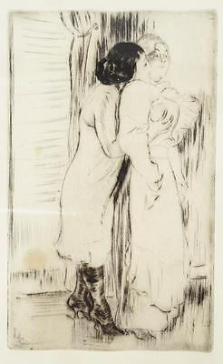 """Antique French Impressionist Etching Sapphic """"Two Women"""" Signed Louis Legrand"""