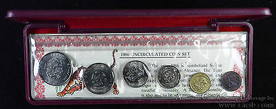 Singapore 1986 KM#MS23 6 Coin Mint Set Original Case COA Year of the Tiger.