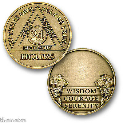 Aa Alcoholics Anonymous 24 Hours Engravable  Recovery Sobriety Challenge  Coin