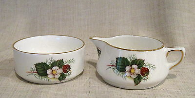 Hammersley Spode Strawberry Ripe Open Sugar Bowl & Creamer