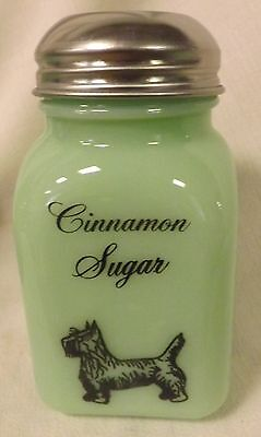 Jade Jadite Milk Green Glass Stove Top Cinnamon Sugar Shaker Scottie Scotty Dog