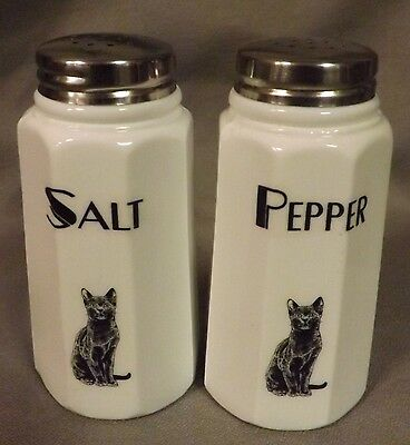 Milk Glass Paneled Salt & Pepper Shaker Set w/ Black Cats