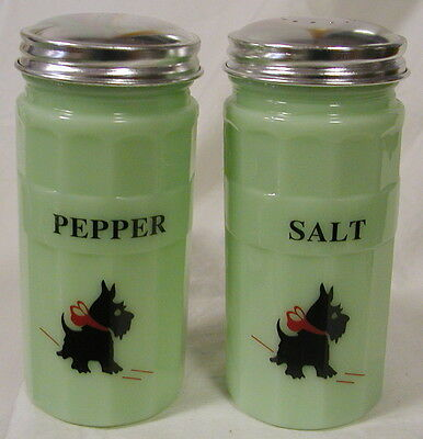 Jade Glass Hoosier Style Salt & Pepper Shaker Set  w/ Scottie Dogs