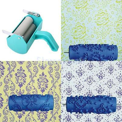 DIY Wall Decoration Painting Machine + 3pcs 15cm Flower Pattern Roller Brushes