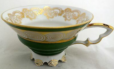 Mitterteich Bavaria RARE TEA CUP Footed Green Gold Spirals Germany Antique