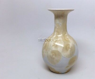 Signed NC Pottery Crystalline vase - bright yellow - very fine condition
