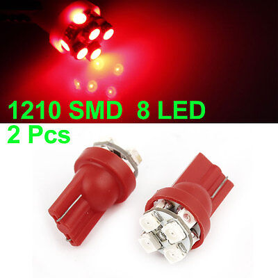 Red T10 W5W 1210 SMD 8 LEDs Bulbs Car Interior Side Wedge Light 2 Pcs