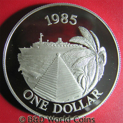 BERMUDA 1985 ONE $1 DOLLAR SILVER PROOF CRUISE SHIP TOURISM PALM TREE w/COA 39mm