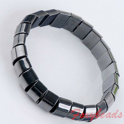 "1p 7""L Stretchy Natural Magnetic Hematite Bracelet Rectangle Bead Wristband Gift"