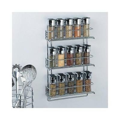 Organize It All 3-Tier Wall-Mounted Spice Rack - Chrome (1812) New