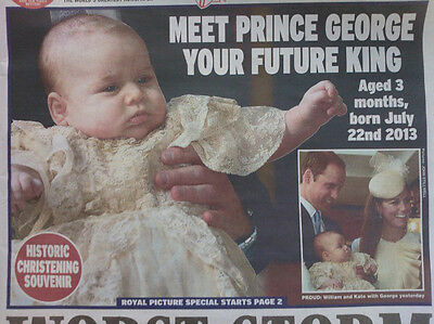 BABY GEORGE CHRISTENING.WILLIAM & KATE.EXPRESS NEWSPAPER SOUVENIR NEW 24TH