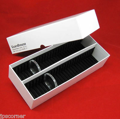 50 Silver Round Black Ring AirTite Coin Holders with #16 xlg Capsule Storage Box