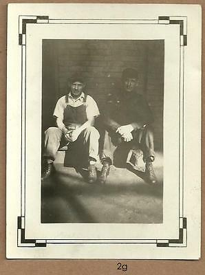 1920's vintage REAL PHOTO ~ factory workers in SHADOW & LIGHT ~ Wisconsin