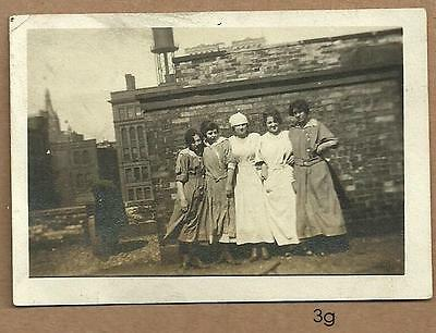1920's vintage REAL PHOTO ~ Female factory workers ~ downtown MILWAUKEE rooftop