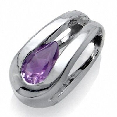 Natural February Birthstone Amethyst 925 Sterling Silver Solitaire Pendant
