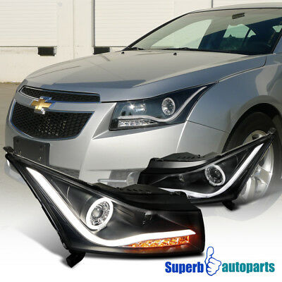2011-2014 Chevy Cruze LED DRL Strip Halo Projector Headlights Black SpecD Tuning