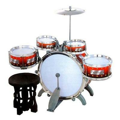 Jazz Drum Set with Chair - Music Toy Instrument for Kids (10 Pc) New