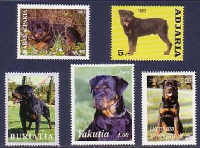 Rottweiler Dogs 5 different MNH stamps ROTT17