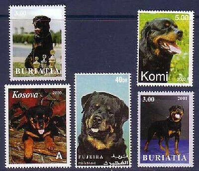 Rottweiler Dogs 5 different MNH stamps ROTT18