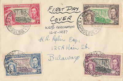 Stamps Southern Rhodesia 1937 Coronation of KGV1 set of 4 on FDC West Nicholson